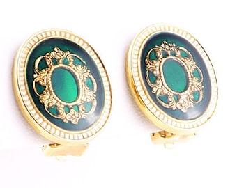 Royal Green Enamel Vintage 1980s Earrings Clip On