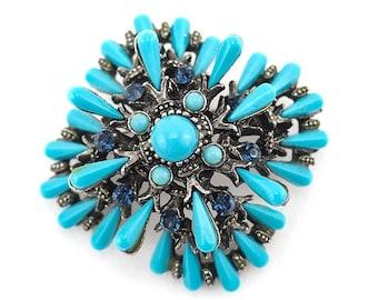 Har Brooch, Har Jewelry, Har Vintage Jewelry, Vintage Brooch, Blue Brooch, Designer Brooch, Turquoise Brooch, Costume Jewelry, Cross Brooch
