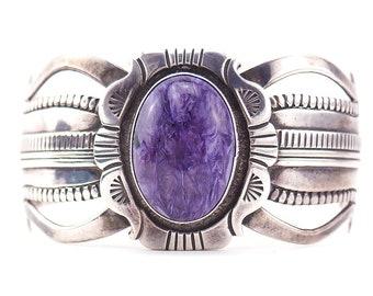 Navajo Bracelet, Charoite Bracelet, Sterling Silver Bracelet, Cuff Bracelet, Wes Craig, Indian Handmade, Wide Cuff Bracelet, 925 Bracelet