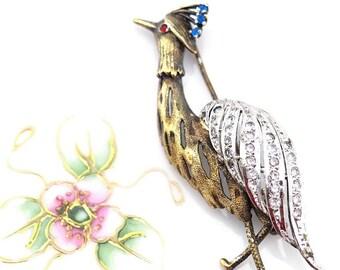 Bird Brooch, Vintage Brooch, Sterling Silver Brooch, French Brooch, Gold and Silver Brooch, Rhinestone Bird Brooch, Heron Brooch, Bird Lover