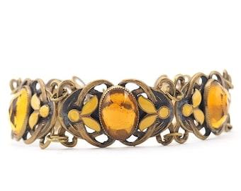 Neiger Bracelet, Neiger Jewelry, Czech Bracelet, Vauxhall Glass, Vintage Czech Jewelry, Enamel Bracelet, Yellow Bracelet, Vintage Bracelet