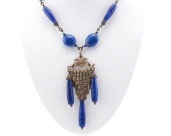 Antique Necklace, Lapis Bead Necklace, Drop Necklace, Beaded Necklace, Vintage Necklace, Czech Necklace, Blue Necklace, Brass Glass Necklace