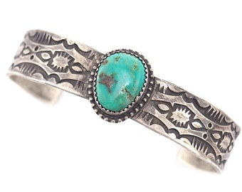 Native American Bracelet, Turquoise Bracelet, Sterling silver Bracelet, Handmade Bracelet, Daniel Medina, Southwestern Bracelet, Stamped