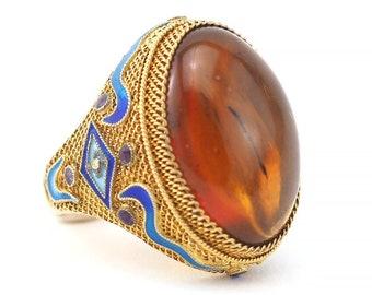 Chinese Export Ring, Filigree Ring, Amber Ring, Enamel Ring, Chinese Export Silver, Genuine Amber Ring, Chinese Ring, Gold Over Silver