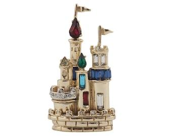 Coro Castle Brooch, Adolph Katz, Coro Brooch, Castle Brooch, 1940s Brooch, 1940s Jewelry, Miniature Castle, Castle Pin, Coro Jewelry