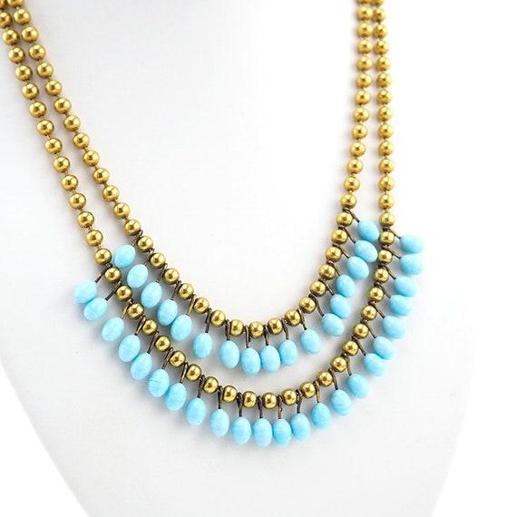 Lampwork Necklace, Brass Bead Necklace, Vintage N… - image 3