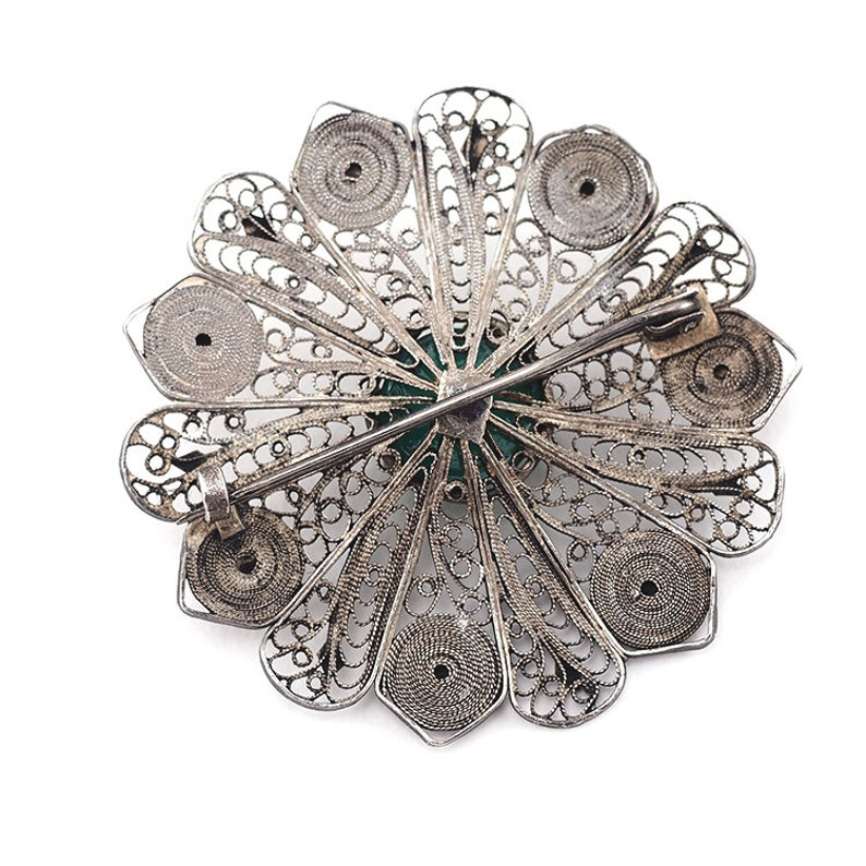 Vintage Filigree Brooch Vintage Flower Brooch Silver Filigree Jewelry Sterling Filigree Brooch Chrysoprase Jewelry Unique Gift For Her