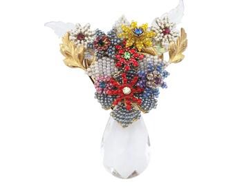 Stanley Hagler, Statement Brooch, Stanley Hagler Vintage Jewelry, Designer Brooch, Flower Brooch, Beaded Brooch, Large Brooch, Seed Bead