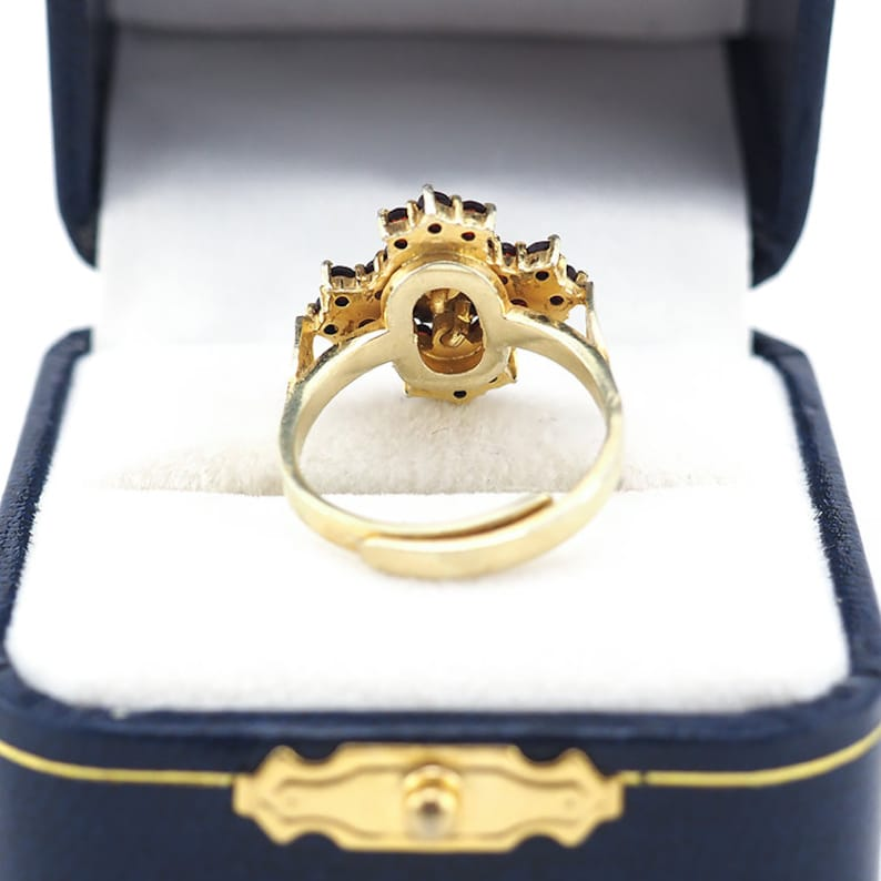Sterling Silver Ring Rose Cut Garnet Garnet Ring 925 Ring Vintage Garnet Bohemain Garnet Ring Cross Ring Vintage Ring Gold Overlay