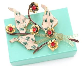 Vintage Flower Brooch, 1940s Brooch, Flower Brooch, Vintage Plastic Jewelry, Vintage Plastic Brooch, War Time Jewelry, Celluloid Brooch