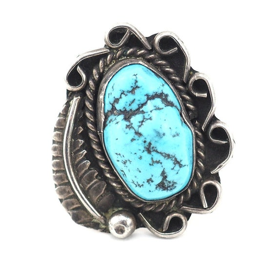 Vintage Turquoise Ring, Sterling Silver Ring, Nava