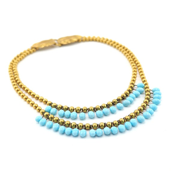 Lampwork Necklace, Brass Bead Necklace, Vintage N… - image 4