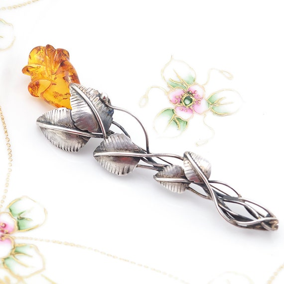 Amber Brooch, Rose Brooch, Amber Silver Jewelry, … - image 2