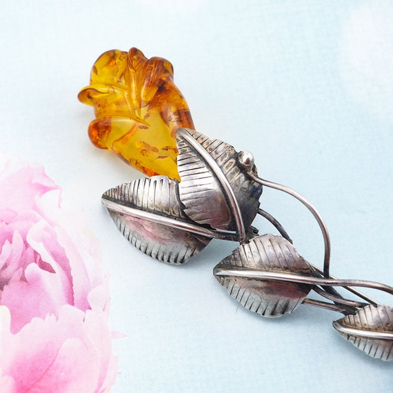 Amber Brooch, Rose Brooch, Amber Silver Jewelry, … - image 3