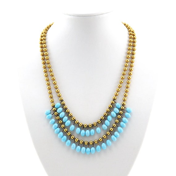 Lampwork Necklace, Brass Bead Necklace, Vintage N… - image 2