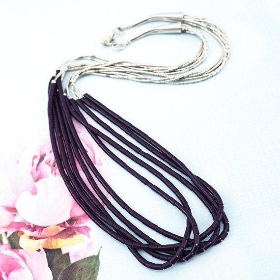 Liquid Silver Necklace, Native Beaded Necklace, Su