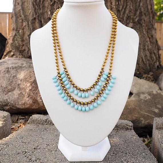 Lampwork Necklace, Brass Bead Necklace, Vintage N… - image 6