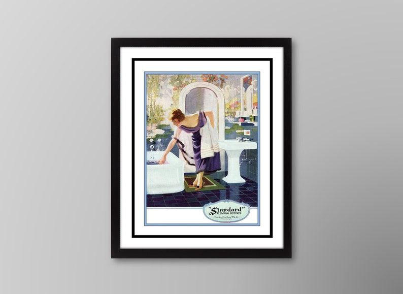 1920s Flapper Girl Art Deco Blue Bathroom Wall Decor Purple Etsy