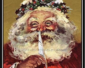 SALE Santa Vintage Wall Art Printable Print INSTANT DOWNLOAD Digital Decor Santa Claus Retro Christmas 25% off
