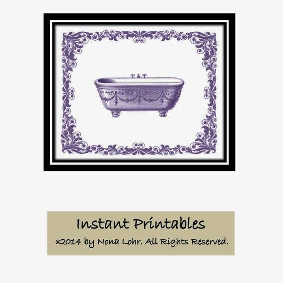 Sale Vintage Purple Bathroom Printable Lavender Bathroom Wall Etsy