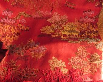 Vintage Red Pagoda Silk Table Cloth or Toile Kimono Fabric