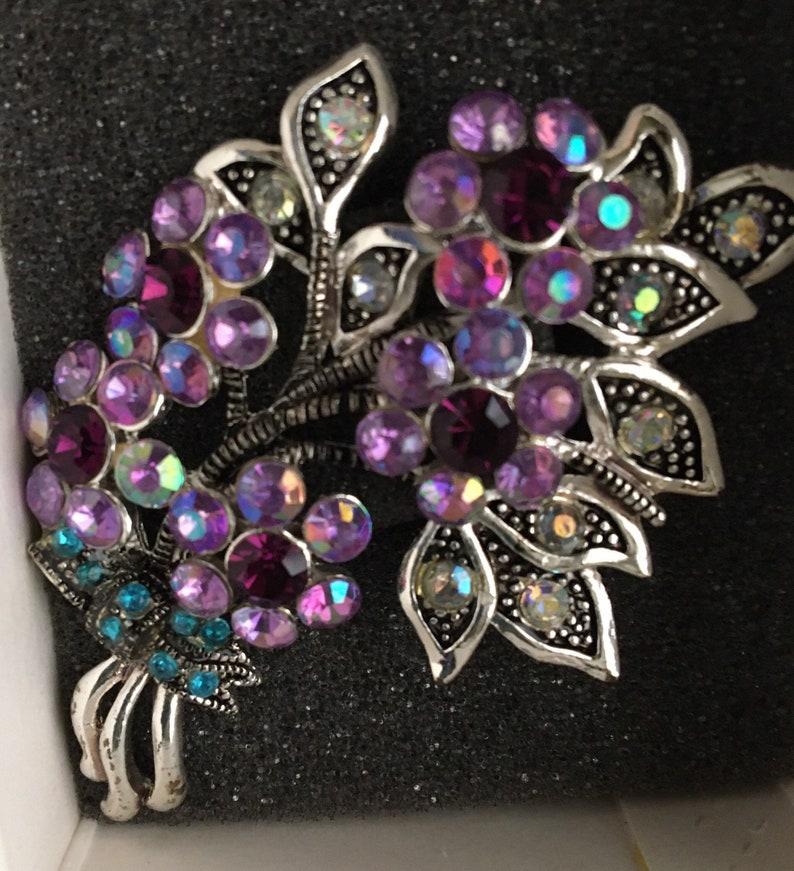 Vintage Rhinestone Flower Pin Brooch Purple Floral Avon MIB