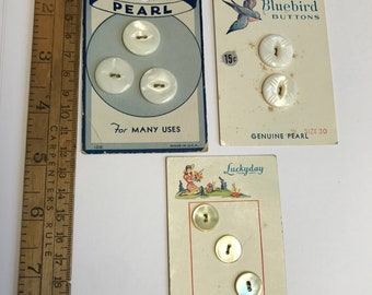 Cards of Vintage Mother Of Pearl Buttons