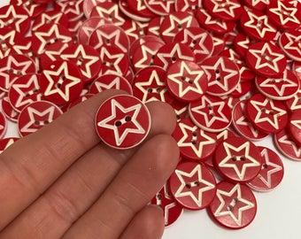 Retro star buttons (set of 10)