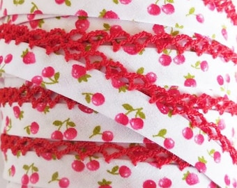 Cherry & Strawberry Crochet Edge Bias Tape Double Fold Bias Tape *Quilt Binding *By the Yard *Sewing Supplies Trim