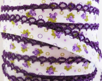 Crochet Bias Tape Grape Bias Tape Double Fold Bias Trim Purple Crochet Edge *Quilt Binding *Sewing Quilting Supplies *Grape Fabric