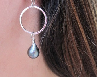 Tahitian Pearl Earrings, Sterling Silver Pearl Hoop Earrings, Black Pearl Earrings, South Sea Pearl Earrings, Pearl Dangle Earrings