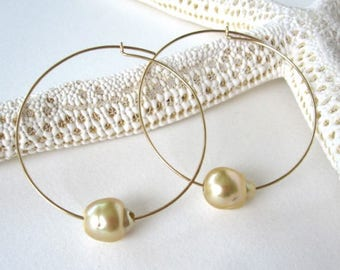 Pearl Hoop Earrings, Gold Hoop Earrings, Sterling Silver Hoop Earrings, South Sea Pearl earrings, Tahitian Pearl Earrings, Large Gold Hoop