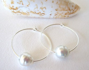 Sterling Silver Pearl Earrings, South Sea Earrings, 14k Gold Hoops, Tahitian Pearl Earrings, Pearl Hoop Earrings, Silver Hoops, Pearl Hoops