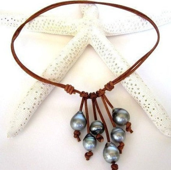 Tahitian Pearl And Leather Necklace: Tahitian Pearl Leather Necklace Leather South Sea Pearl