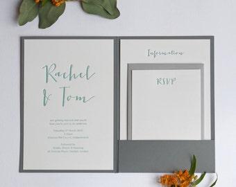 Calligraphy Pocketfold Letterpress Wedding Invitation Sample