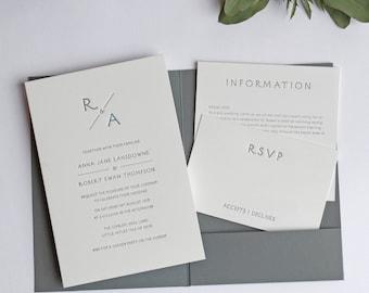 Monogram Pocketfold Letterpress Wedding Invitation Sample