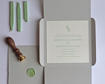 Wax Seal Letterpress Wedding Invitation Sample
