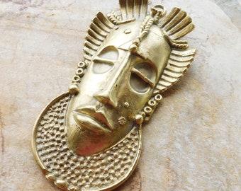 Extra Large Ashanti Brass Mask 12.5 Large Decorative African Brass Tribal Mask,Large Mask,Ghana Ashanti Lost Wax Brass Mask,African Brass