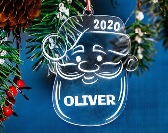 2020 Personalized Christmas Ornament - Laser Etched Santa Claus