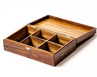 Handcrafted Heirloom Jewelry/ Keepsake Box - Walnut & Zebra Wood