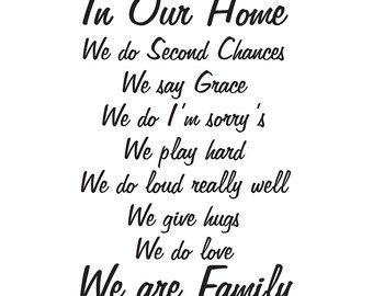 In Our Home We Do quote vinyl wall art
