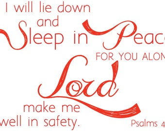 Psalm 4:8   Scripture Wall Decal