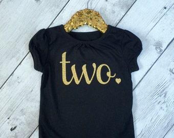 "Second Birthday ""two"" shirt, glitter two shirt, birthday shirt, second birthday shirt"