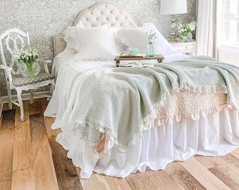 Linen Coverlet, Linen Bedspread, Ruffled Bedspread, Shabby Chic, Farmhouse Bedding