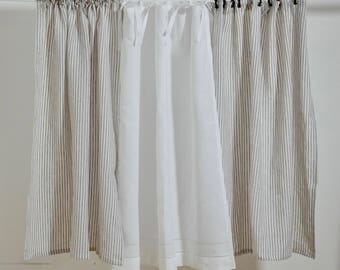 Linen Drapes   Linen Curtains   Kitchen Curtain   Bedroom Curtains   Pair    TIE TOP   Shabby Chic Curtains   Ticking Curtains   Custom