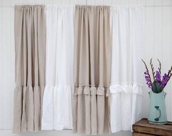 Linen Curtains, Linen Drapes, Washed Linen, Window Curtains, Ruffled Linen, Curtain Panel, Custom Curtains, Farmhouse Decor, Shabby Chic