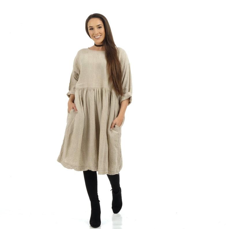 7c734a4018a3bb Linnen Kiel jurk / Boho jurk / Oversized jurk / met zakken | Etsy