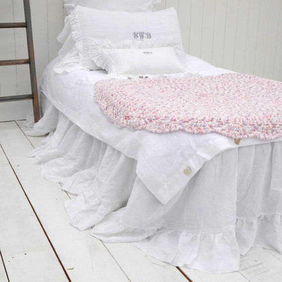 California King Bed Skirt.Linen Bed Skirt Dust Ruffle California King Size