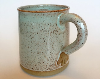 Stoneware Hand Thrown Pottery Mug Mint green with hand handle. Tea cup. Coffee cup. In stock.