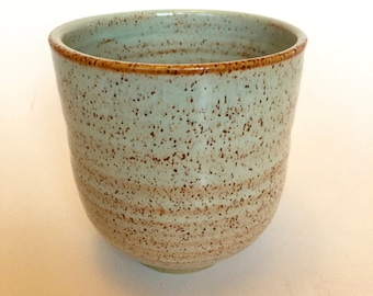 Pottery cup. Handmade Tea cup, Hand made Stoneware tea cup, Yunomi Tea Cup, Speckled Mint green, Turquoise or White.